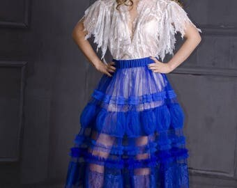 Electric  Blue  tulle transparent  evening Overskirt for dress, blue tulle  overskirt for party evening  dress, transperent overskirt, blue