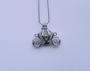 Carriage Cage Pendant & Pearl Necklace  Kit, gift for her, bridesmaid gift, June birthstone, Princess gift.