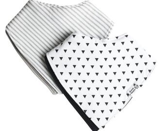 truly reversible baby bandana drool bibs, two pack - lane