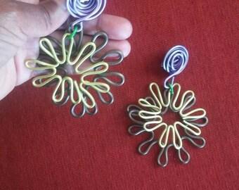 Vintage Art Deco Floral Earrings