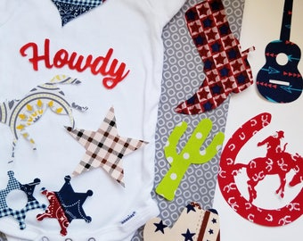 10 cowboy country boy or girl iron on appliques for your DIY baby shower station. Customize your order by messaging me!