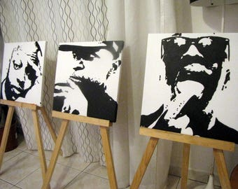 """3 paintings """"Oxmo Puccino"""" - 40x40cm - original Format"""
