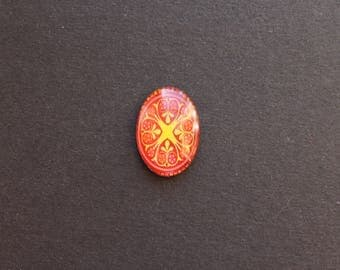 Cabochon 18 x 25 mm glass oriental / ethnic red tone