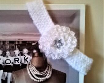 White baby headband HEADBAND