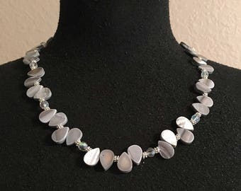 Beaded Teardrop Mother of Pearl Necklace, under 25, gift for her, beaded pearl necklace, pearl jewelry, christmas gift, gray pearl, bold