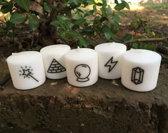 Magic Themed Candles, Set of 5, Mystical Tumblr Inspired Set of Votive Candles, Crystal Ball, Pyramid, Crystal, Lightening Bolt, Magic Wand