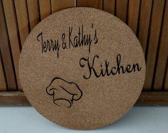 Kitchen Trivet. Cork.Laser Engraved Custom Trivets