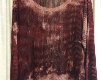Distressed blouse//plus  size 3XL// BLEACHED// acid washed // see through// layers// one of a kind// retro fade