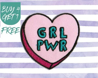 Girl Power Patches Heart Patches Iron On Patch Embroidered Patch Sew On Patch Jacket Patches