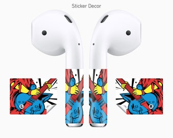 AirPods Stickers Rock, Guitar, Music, 2-Sets, Wraps, Skin, Cover, Decal