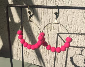 Neon pink beads hoop earrings