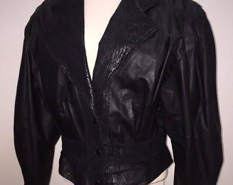 Details about  Cuir Classique Size M Womens Vintage Bolero Leather Jacket Black