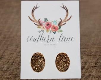 Gold Oval Druzy Earrings