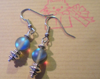 "EARRING loop ""Pearl Grey Moonstone"" on silver plated support"