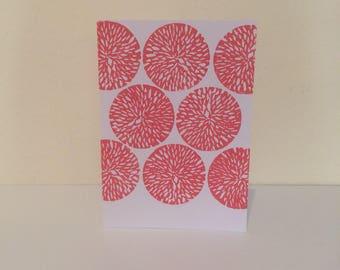 Block print card with flower print