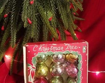 Vintage mini christmas balls in the original box, tiny glass balls
