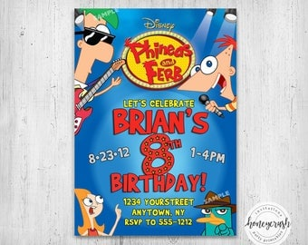 Phineas and Ferb Birthday Invitation - Printable Digital File