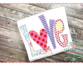 Applique and Embroidery Originals Digital Design - 190 Love with Heart Funky Bean Applique Design for Valentine's Day, instant download