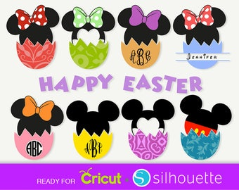 MICKEY MOUSE SVG Easter svg Minnie mouse svg Disney svg files for Cricut split Monogram svg Disney clipart Dxf