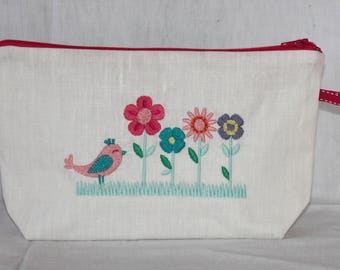 Toiletry bag travel coated white, bird and flowers embroidery