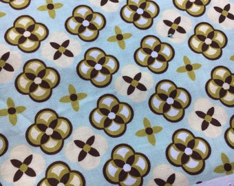 "Ginger Blossom by Sandi Henderson for Michael Miller. Tortoise plaid in aqua. Remnant measures 29x36"""
