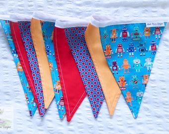 Rad robotics boys nursery red, blue and orange fabric bunting / pennant flags / wall decor