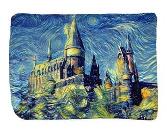 Hogwarts Castle Velveteen Blanket, Starry Night Blanket, Harry Potter Blanket, Hogwarts Castle Throw, Harry Potter Art, Hogwarts Art, Starry