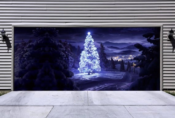 Christmas garage door cover winter nature garage door mural for Christmas garage door mural