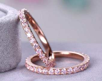 Pink CZ Cubic Zirconia Wedding Ring Set Rose Gold 925 Sterling Silver Full Eternity Engagement Stacking Band Matching Bridal Women 2pcs Gift