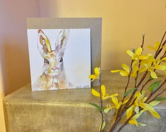HARE greetings card, Blank, Birthday, Thankyou, nature lover, wildlife, gift, Easter, recycled card, eco friendly, compostable packaging