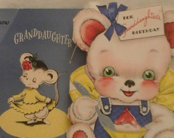 Vintage  to Granddaughter  greeting  cards