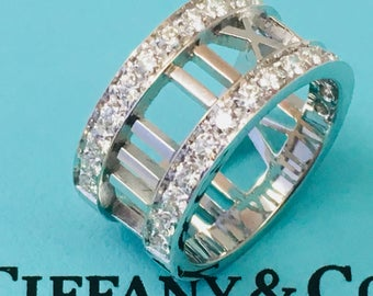 Tiffany ATLAS Wide Open Diamond Ring in 18k (750) White Gold Sz 4.25