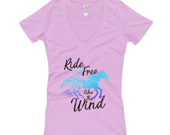 Ride Free Like The Wind..., Womens V-Neck T-shirt