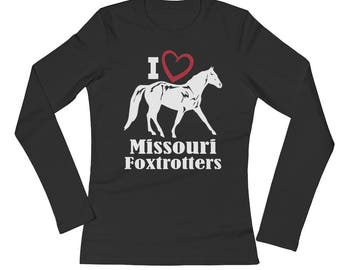 I Love Missouri Foxtrotters Ladies Long Sleeve Jersey T-Shirt