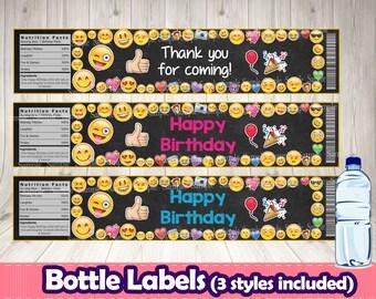 EMOJI BOTTLE LABELS.Emoji printable label.Emoji birthday.Emoji decoration.Emoji bottle.Emoticons decoration. Emoji buffet.Emoji themed party