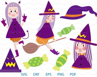 Halloween Witch Clipart , Hat, Candy Svg ,  cricut, cameo, silhouette cut files commercial & personal use
