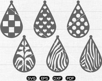 Heart Tear drop SVG, Animal print Teardrop, earrings svg, leather jewelry making Clipart, silhouette cut file commercial use