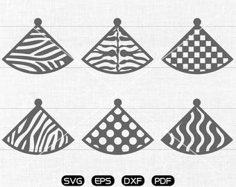 fan shaped SVG, fan shaped earrings svg, leather jewelry making Clipart, cricut, silhouette cut files commercial use