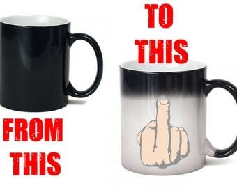 middle finger mug - heat sensitive colour change - 11oz size