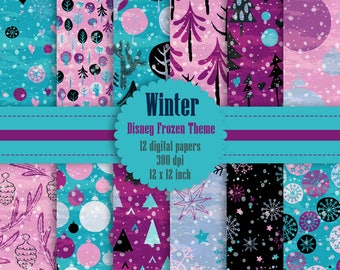 12 Winter Pattern Digital Papers in Disney Frozen Theme Color in 12 inch, Instant Download, High Resolution 300 Dpi, Commercial Use