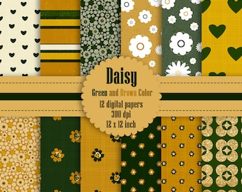 12 Daisy Flower Digital Paper in Green and Brown Color 12 inch 300 Dpi Instant Download, Scrapbook Papers, Commercial Use