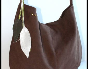 """Alela"" brown suede bag"