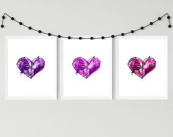 Three piece Purple and Pink Heart Gradient Watercolor. Digital Print. 8x10. Nursery Print.