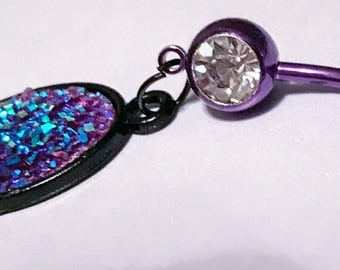 Purple anodized stainless steel rhinestone 14g belly button ring navel body jewelry with iridescent purple druzy oval charm