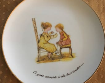 """Vintage Holly Hobbie Decorative Plate """"A good example is the best teacher..."""
