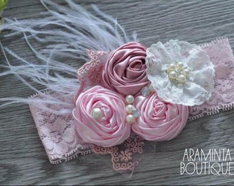 Baby Flower Headbands, Pearls, Diamante & Lace Headbands. Pink and Cream. Unicorn Headbands. Cake smash, Birthday and Party Accessories