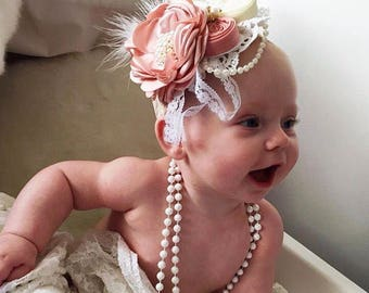 Baby Flower Headband, Vintage rose headband ,Pearls, Diamante & Lace Headband. Pink and Cream Headband, baby photoshoot prop