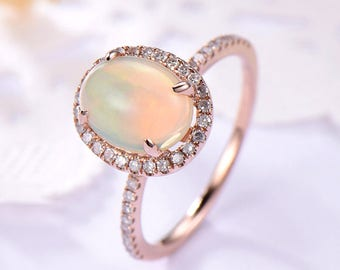 Opal Halo Engagement Ring 14k 18k Rose Gold 925 Sterling Silver CZ Diamond Cubic Zirconia Minimalist Wedding Bridal Ring Women Promise Gift