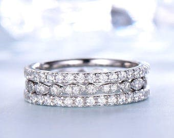 Full Eternity Wedding ring sets White gold 14k/18k or in 925 sterling silver with Man made CZ diamond wedding band 3PCS stacking bands