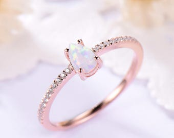 Pear Shaped Cut Opal Engagement Ring 14k 18k Rose Gold 925 Sterling Silver CZ Half Eternity Wedding Ring Solitaire Anniversary Gift Bridal